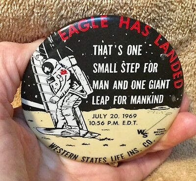 Vintage Advertising Pocket  Mirror ~ EAGLE HAS LANDED Astronaut on the moon