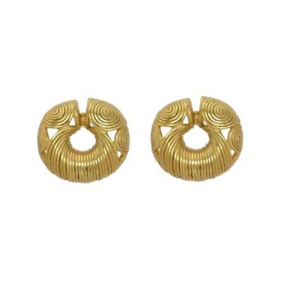 ACROSS THE PUDDLE 24k GP Pre-Columbian Calima Spirals Ornament Drop Earrings