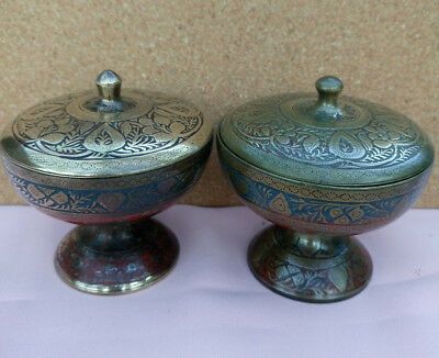 Beautiful,pair of antique,Indian/Kashmiri brass/red & blue enamel lidded pots.