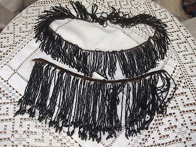 VICTORIAN JET BEADED FRINGING TRIMMING - 2 Lengths