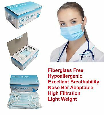 200 pcs Disposable 3-ply Earloop Anti-Dust Face Masks Medical Dental Nail Health