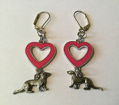 Vintage Ferret Earrings Pink Heart Dangle Ferret Lover Weasel Otter Mink