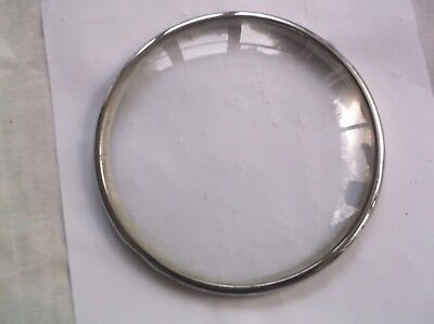 GLASS /CHROME RIM  FROM AN OLD  MANTLE CLOCK  OUTER 6 1/4 inch diam