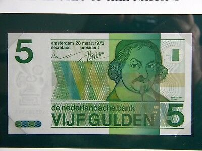 Netherlands Banknote**five Gulden**crisp Unc In Original Envelope With Stamp