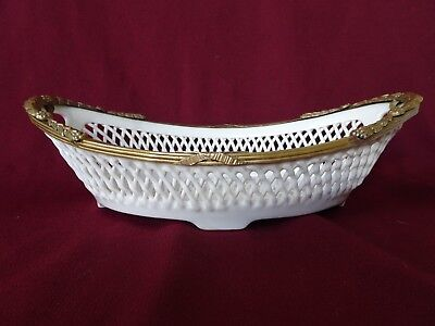 Antique Reticulated Creamware Bowl With Open Handles & Ormolu Trim