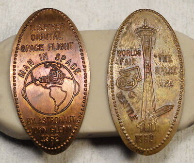 Pair of Elongated Cents, John Glenn's Space Flight + 1962 World's Fair, Nice