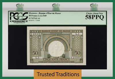 "Tt Pk 44 1949 Morocco 50  Francs ""arch At Center"" Pcgs 58 Ppq Choice About New!"