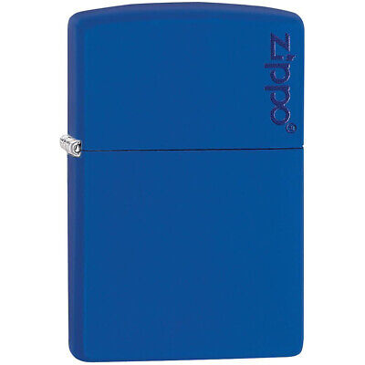Zippo Logo Matte Pocket Lighter - Royal Blue