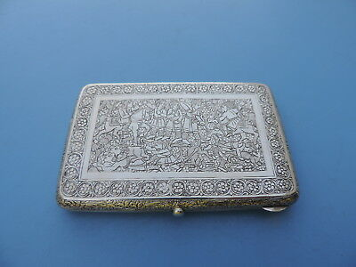Ca 1928 Signed Persian Islamic Qajar Solid Silver Cigarette Card Case By Jafar