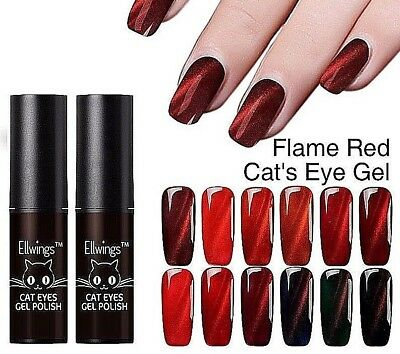Organic Cat's Eye Nail Polish UV Gel Manicure Fire Magnetic Red Flame 3D Varnish