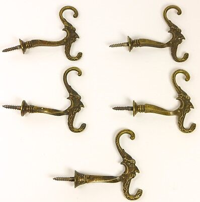 VTG Brass Wall Coat Hat Clothing Tie Back Double Hooks Wizard Face 5 Pcs