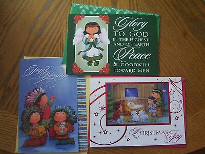Lot of 3 New Native American Children Christmas cards with envelopes