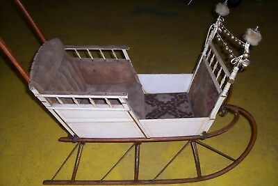 Antique Child Baby Or Doll Push Sleigh Carriage 1800's All Original