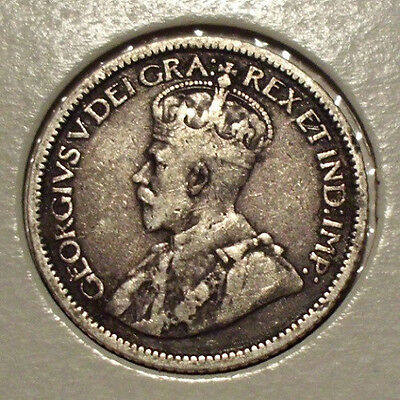 1914 Canada 10 Cents Sterling Silver Coin , VF