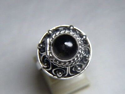 70er Jahre Ring 925 LMR Silber Hecho Mexico Giftring Onyx Cabochon RG 59-62 7,9g