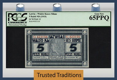 "TT PK 3f 1919 LATVIA 5 RUBLI ""98 YRS OLD"" PCGS 65 PPQ GEM POP THREE NONE FINER!"