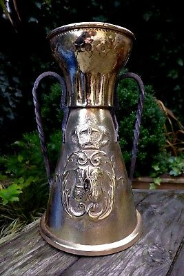 Antique large brass jug with coat of arms of castle, lions and crown, Spain rare
