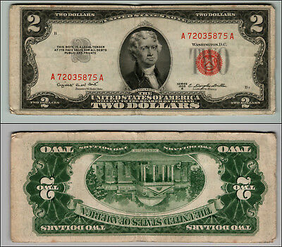 1953B $2 Dollar  Us Note Legal Tender Paper Money Currency Red Seal W489