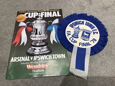 Ipswich Town FC Vs Arsenal, FA Cup Final 1978, Match Programme And Rosette