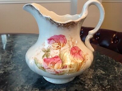 Antique Water Pitcher New Jersey Pottery Co circa 1869-1883 Floral Design 7 1/2""