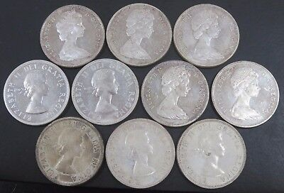 10 Canadian 80% Silver Dollars 1958x5 1965x5 6oz Total Silver Weight #612