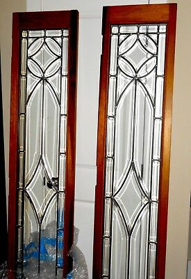 """PAIR OF BEVELED LEADED GLASS FRENCH DOORS Wood Framed Over 6Ft Tall 77""""X15"""""""