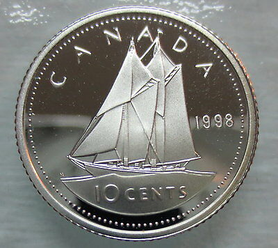 1998 Canada 10 Cents Proof Silver Dime Heavy Cameo Coin