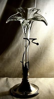 """Antique 14 1/2"""" SILVER PLATE & BLOWN GLASS LILY EPERGNE VASE"""
