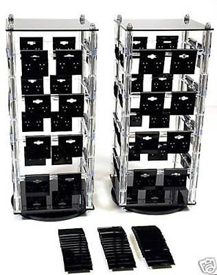 2 Acrylic Rotating Earring Display Stands Revolving With 100 Black Cards