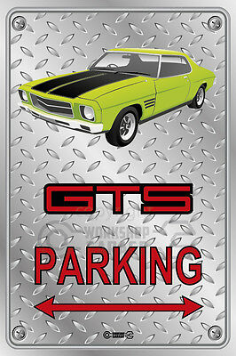 Parking Sign - Metal - HOLDEN HQ - GTS LIME GREEN 2  DOOR - Checkplate look