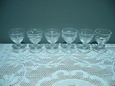 Depression Glass Egg Cups X 6 - 4 Different Patterns - Vintage -  Very Good Cond