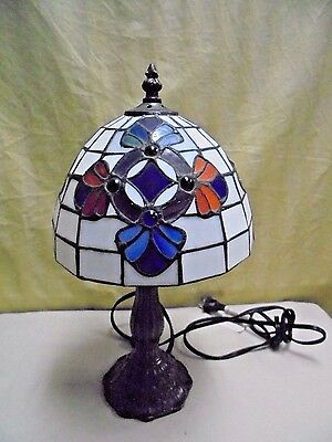 Vintage Slag Metal Leaded Stained Slag Glass Tiffany Style Table Lamp 14.5""
