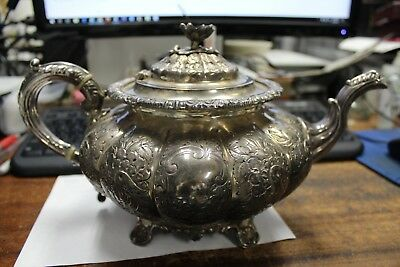 Sterling English Tea Pot Marked Birmingham 1921 Maker B.B.S. LD 1265 grams