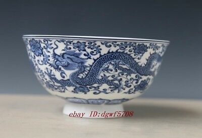 Worth collecting Jingdezhen blue & white Porcelain Painted dragon flower bowl