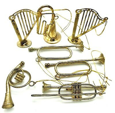 Lot of 7 Vintage Brass Metal Music Instruments Christmas Ornaments Harp Horns