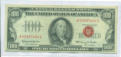 1966 $100 Red Seal U.s. Note