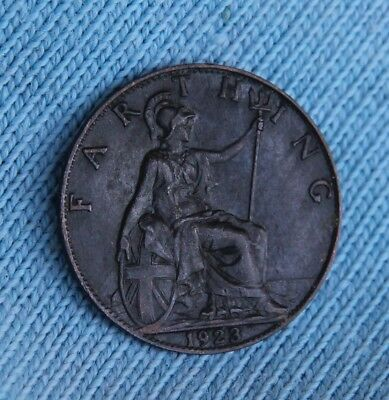 1923 UK Farthing Coin average circulated condition nice example - collectible