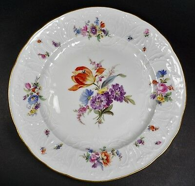 Antique Meissen Floral Bouquet Insects Bugs Embossed Dinner Plate - A