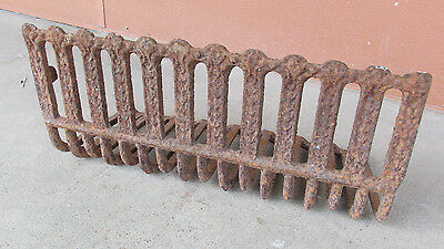 """Anitque Cast Iron Fireplace Grate New Orleans 20"""" Decor Old Original Nice"""