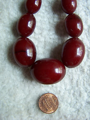 "Tested Antique Art Deco Faturan Cherry Bakelite Bead Necklace 26"" 70.8 grams"