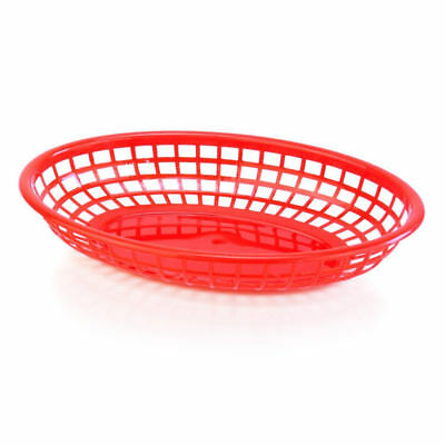 BarBits Red Oval Fast Food Baskets Set of 12 - American Plastic Side Burger Chip