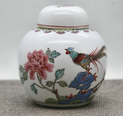 Vintage Nicely Hand Painted Chinese Porcelain Ginger Jar Circa 1960s