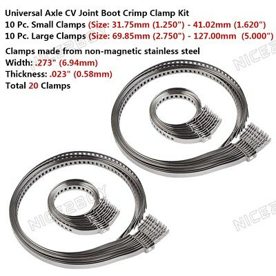 20Pcs Universal Adjustable AXLE CV Joint Boot Crimp Clamp Kit Stainless Steel