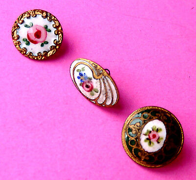Antique 3  Small Hand Enamel  Buttons, Pink Rose  Flowers