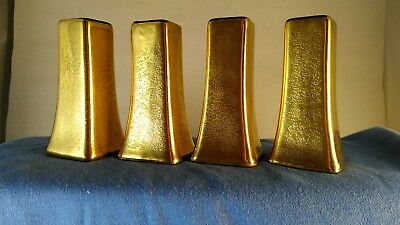 4 Vintage Antique Hand Painted Gold Salt & Pepper Shakers W A Pickard