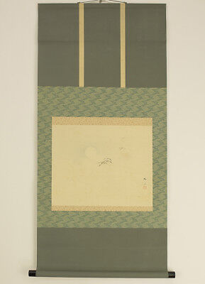 """Japanese Hanging Scroll : BAISAI """"Moon and Wild Geese""""  @g141"""