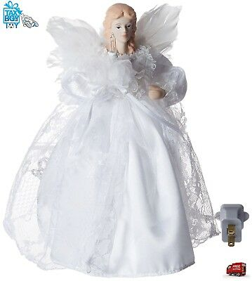Light Up Christmas Tree Topper Decoration 10 Light 9 Inch White Angel Treetop Ft