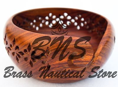 Wooden Yarn Bowl Rosewood Crafted Storage Knitting Bowl Carved Holes