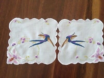 Pair Vintage Linen Hand Embroidered Bluebird Swallow Orchid Small doilies Exc