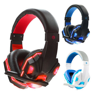 LED USB 3.5mm Surround Stereo Gaming Headset Headband Headphone with Mic For PC